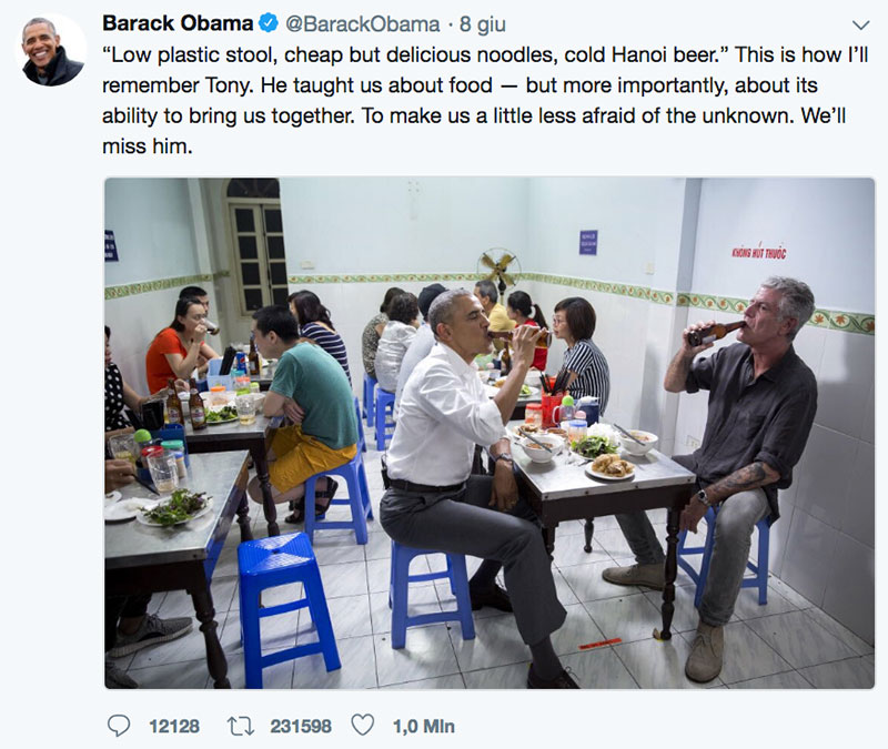 Obama rende omaggio a Anthony Bourdain