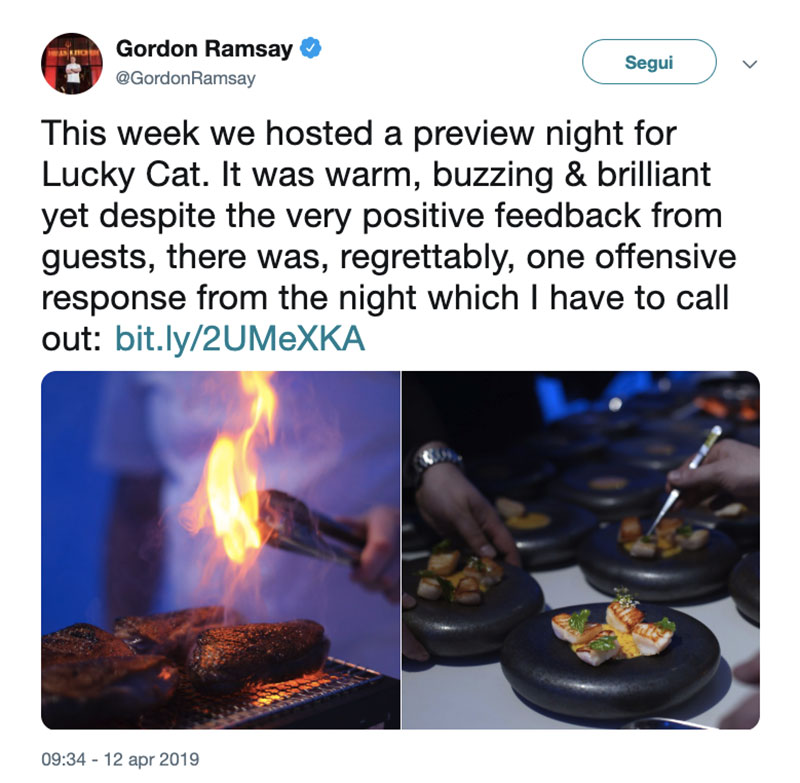 risposta gordon ramsay