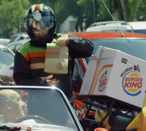 Burger King delivery hamburger traffico
