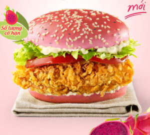 KFC lancia l'hamburger rosa al dragon fruit